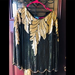Silk 2 pc Skirt Top Beaded Sequins Dress Vintage